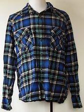 OP Ocean Pacific Blue Plaid Heavy Cotton Flannel Button-Front L/S Shirt 2XL