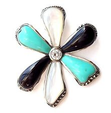TURQUOISE ONYX MOTHER-of-PEARL Flower PENDANT Marcasite .925 STERLING SILVER