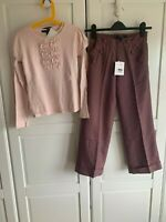 New Lili Gaufrette Girls Outfit, Top & Trousers, Pink Purple, Age 10, RRP £113
