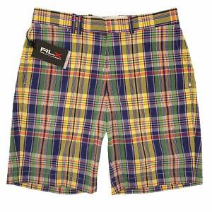 Ralph Lauren Golf RLX Magnolia Lane Plaid Yellow Pink Purple Shorts Mens Size 30