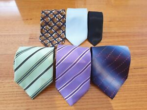 Collection of 6 Vintage Neckties Ties - Bundle Bulk Buy (6 designs and colours)