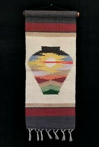 Retro Woven Textile Wall Hanging Of Southwestern Mexican Pottery Urn 24.25x9.75