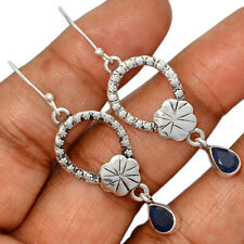 Silver Earrings Jewelry Ae135484 158X New listing Sapphire - India 925 Sterling