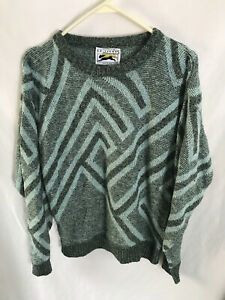 Vintage Le Tigre 90s Sweater Made in USA Retro Grey On Gray Geometric Pattern