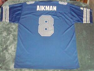 VTG 90s TROY AIKMAN #8 DALLAS COWBOYS STARTER BRAND JERSEY XL BLUE NFL FOOTBALL