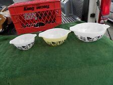 Vintage Pyrex Gooseberry Cinderella Nesting Bowls Set Of 3 Estate Find