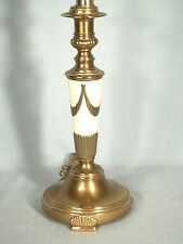 MID CENTURY CLASSICAL REGENCY ADAMS BRASS CANDLESTICK LAMP WITH SWAG DECORATION