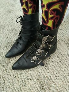 Vtg 80s nana shoes winklepickers skull buckles straps goth pikes england 5 5.5 3