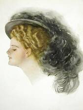 Harrison Fisher Girl FEATHER IN HAT 1908 Art Print Matted