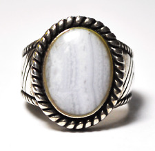 Sterling Silver White Lace Agate Carolyn Pollack Zigzag Twist Ring 21mm Size 9