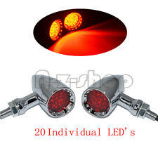 Universal Motorcycle Bullet 20LED Turn Signal Indicator Brake Light Chrome Red