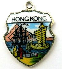 HONG KONG vintage sterling silver and enamel travel shield bracelet charm