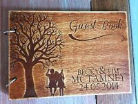 Laser Engraved Personalised Wedding Guest Book 3mm Plywood Rustic Wood A5 SALE