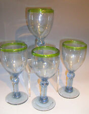Green Band Mexico Wine Glasses Set/4