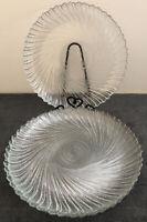 "Set of 4 Arcoroc France Seabreeze Swirl Pattern 10"" Dinner Plates"