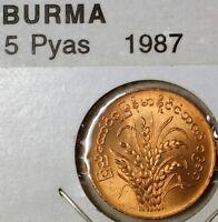 1987 Myanmar Burma 5 Pyas Brilliant Uncirculated Bronze Wheat Coin