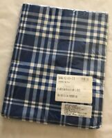 The Company Store/Queen Flat Sheet Blue Plaid 100% Cotton New