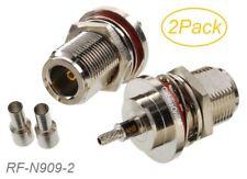 2-Pack N-Type Bulkhead female RF Connector for RG316/RG174/LMR100 Coax wire