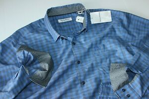 Tommy Bahama Shirt Newport Cimarron Check Mazarin Blue T323608 LS Extra Large XL