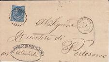 1877 10 C. SU BUSTA DOPPIO ANNULLO NUMERALE + D.C. DA MONTELEPRE A PALERMO