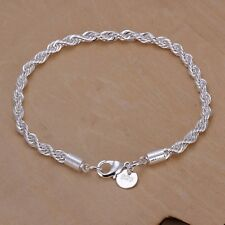 Women 925 Sterling Silver Plated Twist Charm Chain Bangle Bracelet Jewelry USTOP