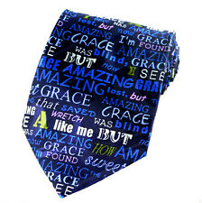 Amazing Grace Men's Necktie Religious Christian Hymn Music Gift Blue Neck Tie