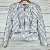Karl Lagerfeld Paris Tweed Lined Jacket Blazer Size 6 White Black Zipper Fringe