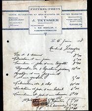 "CLERMONT-FERRAND (63) COFFRES FORTS ""J. TEYSSIER"" en 1938"