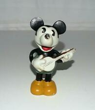 """NM!DISNEY1930'sLG.""""MICKEY MOUSE PLAYING BANJO""""BISQUE FIGURINE+AUTHENTICITY LABEL"""