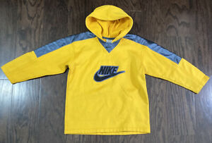 Vintage Nike Just Do It Spellout Hoodie Hooded Sweatshirt Youth Sz Small Yellow