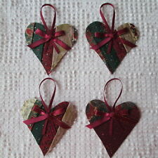 AB00 Heart Ornaments Upcycled from Modern Unfinished Quilt Project OOAK Holiday