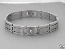 Edelstahl Armband Armketten Gliederarmband Zirkonia matt Herren Biker breites
