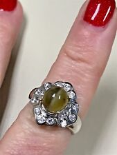 Gorgeous Tiger Eye Apatite Cabachon 925 Sterling Silver Flower ring Size 7