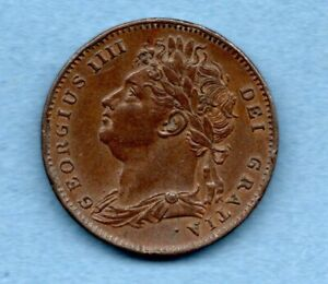 1825 KING GEORGE IV, COPPER FARTHING COIN.