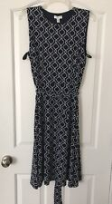 Women Charter Club Petite Large Sleeveless Belted Fit & Flare Dress Navy/white