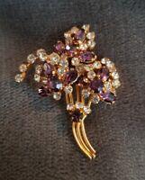 Vintage Gold tone Boquet flowers tree? floral purple clear Rhinestone Pin Brooch