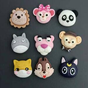 10pc Mixed Resin Cartoon Animals Heads Flatback Buttons DIY Embellishments 20 mm