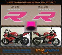 BMW S1000R Tank Decals. 2013-17 - Silver & Fluorescent Pink Stickers