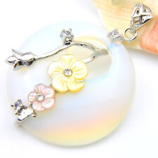Rainbow Moonstone Flower Carved Shell Gemstone Solid Silver Necklace Pendants
