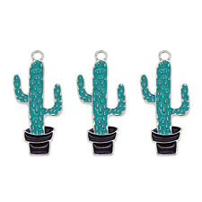 4 pcs Silver Metal Enamel Plated Blue Cactus Charms Earrings Pendants Findings