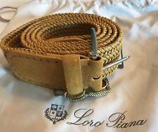475$ Loro Piana Mustard Men's Linen Woven Belt Size 40 Made in Italy
