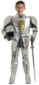 Knight Child Costume Boys Silver Metallic Medieval Armor Warrior Halloween