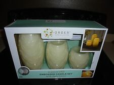 Order Home Collection 3 Piece Embossed LED Candle Set With Daily 4 hour Timer