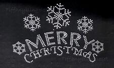 "Rhinestone Iron on heat Transfer Hot Fix Bling "" merry christmas clear """