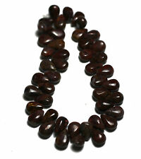 ~45 NATURAL RED Pietersite Flat Pear Briolette Beads 6x9mm K3812