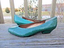 Vintage Snakeskin Pumps Chunky Heel Emerald Green 9 M 80s