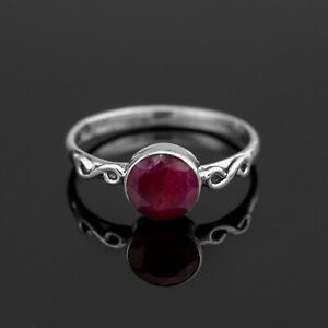 925 Sterling Silver Ladies Round Red Ruby Ring Red Gemstone Jewellery Gift