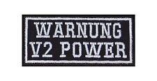 Warnung V2 Power Biker Patches Aufnäher Rocker Bügelbild Kutte Motorrad Heavy