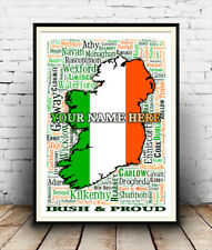 Irish & Proud :  Your Name & places in Ireland artwork, Poster, Wall Art .