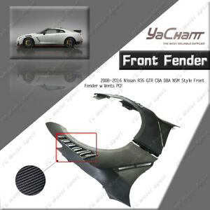 CARBON/FRP Front Fender w Vents For 08-16 Nissan R35 GTR CBA DBA NSM Style